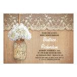 rustic mason jar white hydrangea bridal shower invite
