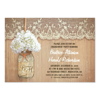rustic mason jar white hydrangea engagement party card