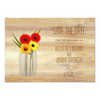 """Rustic Mason Jar with Daisies Save the Date 5"""" X 7"""" Invitation Card"""