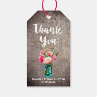 Rustic Mason Jar with Flower Bouquet Thank You