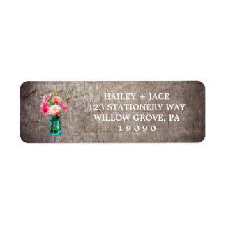 Rustic Mason Jar with Flower Bouquet Wedding Return Address Label