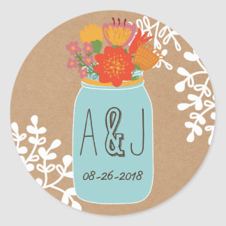 Rustic Mason Jar with Flowers Craft Paper Monogram Round Sticker