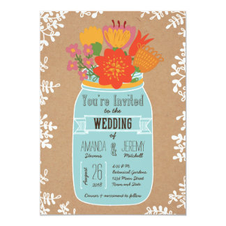 Rustic Mason Jar with Flowers on Craft Paper Announcements