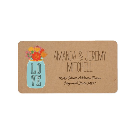 Rustic Mason Jar with Flowers on Craft Paper Label