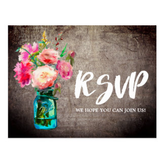 Rustic Mason Jar with Flowers Song Request RSVP Postcard
