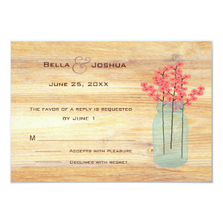 Rustic Mason Jar with Peach Flowers RSVP Personalized Invitations