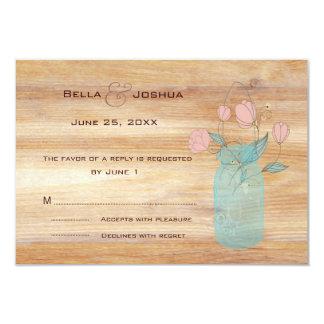 "Rustic Mason Jar with Peach Flowers RSVP 3.5"" X 5"" Invitation Card"