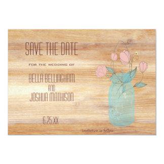 Rustic Mason Jar with Peach Flowers Save the Date 13 Cm X 18 Cm Invitation Card