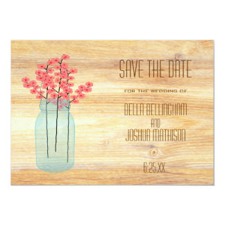 """Rustic Mason Jar with Peach Flowers Save the Date 5"""" X 7"""" Invitation Card"""