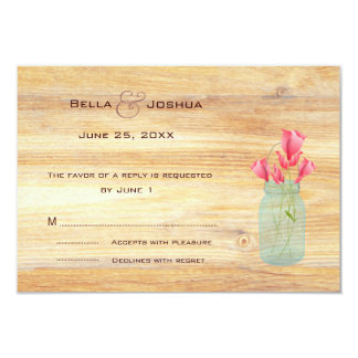 Rustic Mason Jar with Peach Roses RSVP Custom Invitations