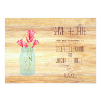 Rustic Mason Jar with Peach Roses Save the Date 13 Cm X 18 Cm Invitation Card