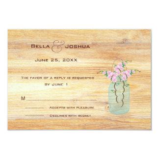 "Rustic Mason Jar with Pink Azaleas RSVP 3.5"" X 5"" Invitation Card"