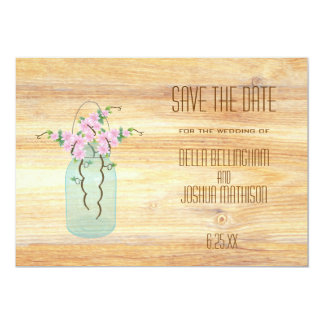 "Rustic Mason Jar with Pink Azaleas Save the Date 5"" X 7"" Invitation Card"