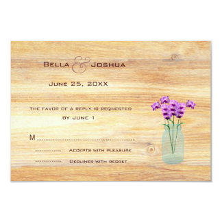 "Rustic Mason Jar with Purple Orchids RSVP 3.5"" X 5"" Invitation Card"