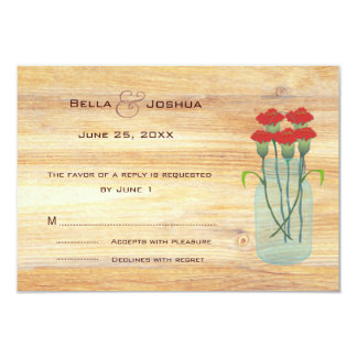 "Rustic Mason Jar with Red Carnations RSVP 3.5"" X 5"" Invitation Card"
