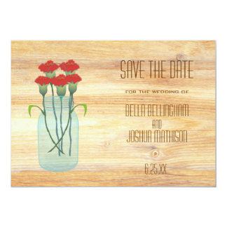 Rustic Mason Jar with Red Carnations Save the Date Personalized Invitation