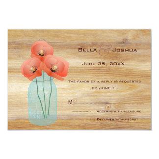 Rustic Mason Jar with Red Poppies RSVP 9 Cm X 13 Cm Invitation Card
