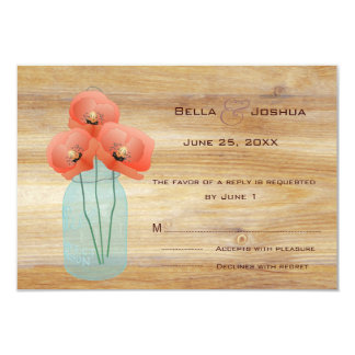 Rustic Mason Jar with Red Poppies RSVP Card