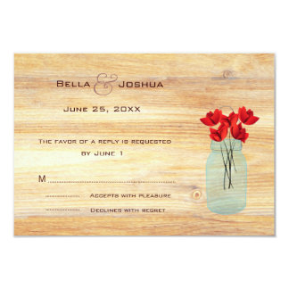 Rustic Mason Jar with Red Poppies RSVP Personalized Invites