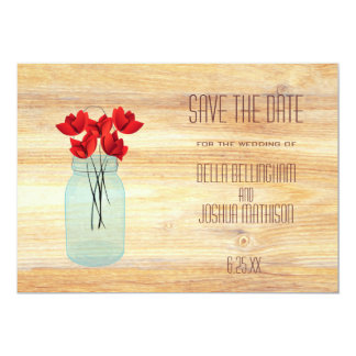 Rustic Mason Jar with Red Poppies Save the Date Invite