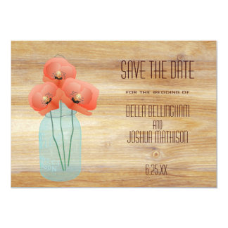 """Rustic Mason Jar with Red Poppies Save the Date 5"""" X 7"""" Invitation Card"""