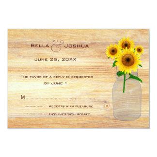 "Rustic Mason Jar with Sunflowers RSVP 3.5"" X 5"" Invitation Card"