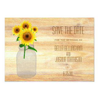 Rustic Mason Jar with Sunflowers Save the Date Personalized Announcements