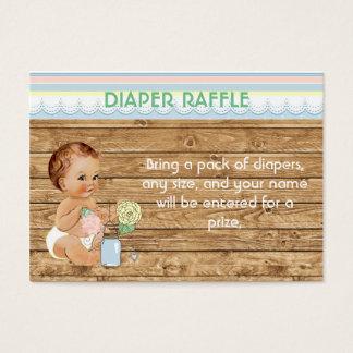 Rustic Mason Jar Wood Diaper Raffle Business Card