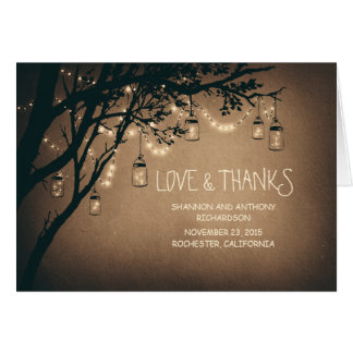 rustic mason jars and twinkle lights thank you note card