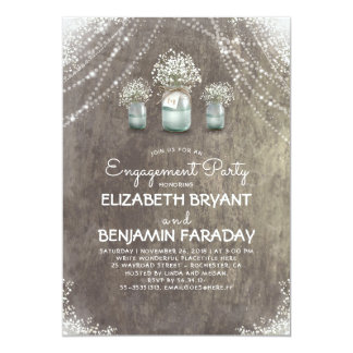 Rustic Mason Jars Baby's Breath Engagement Party Card