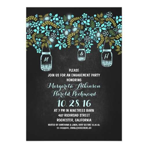 rustic mason jars chalkboard engagement party custom announcement