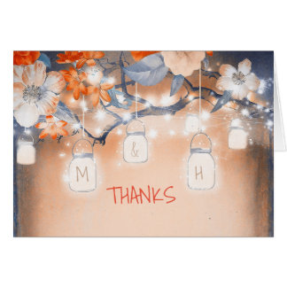 Rustic Mason Jars Floral Tree Lights Thank You Note Card