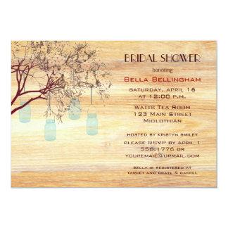 Rustic Mason Jars in a Tree Bridal Shower Inv 13 Cm X 18 Cm Invitation Card
