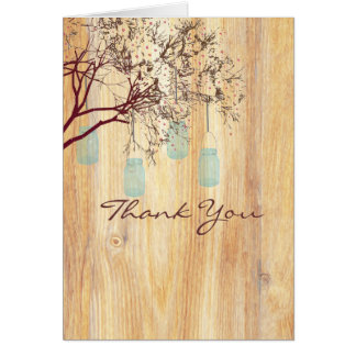 Rustic Mason Jars in a Tree Thank You Note Greeting Card