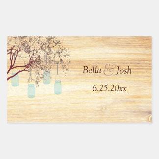 Rustic Mason Jars in a Tree Wedding Sticker