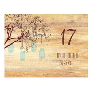 Rustic Mason Jars in a Tree Wedding Table Card Postcard
