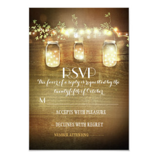 rustic mason jars string lights wedding RSVP cards 9 Cm X 13 Cm Invitation Card