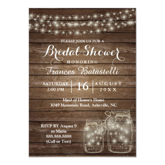 Rustic Mason Jars Wedding Bridal Shower Card