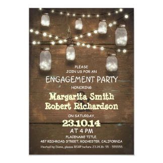 rustic mason jars with lights engagement party card