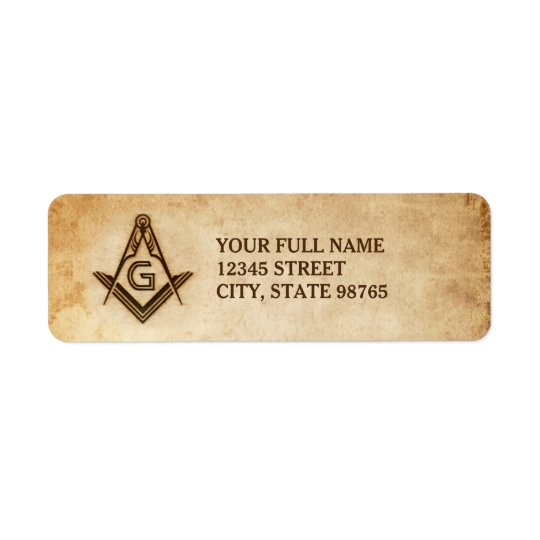 Rustic Masonic Address Labels | Old Parchment