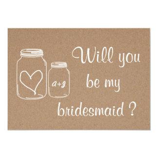 Rustic Masonjar Heart Will You Be My Bridesmaid ? 13 Cm X 18 Cm Invitation Card