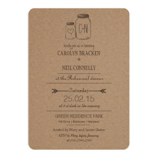 Rustic Masonjar Monogram Heart Rehearsal Dinner Card