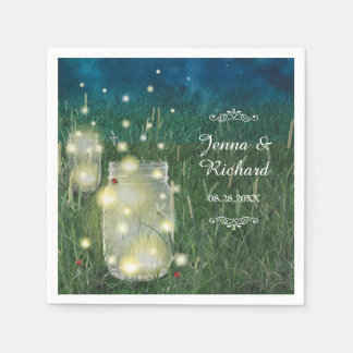 Rustic Meadow Summer Night Mason Jar and Fireflies Disposable Napkins
