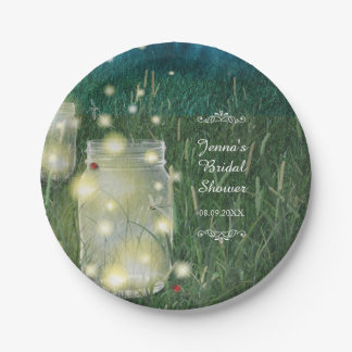 Rustic Meadow Summer Night Mason Jar and Fireflies Paper Plate