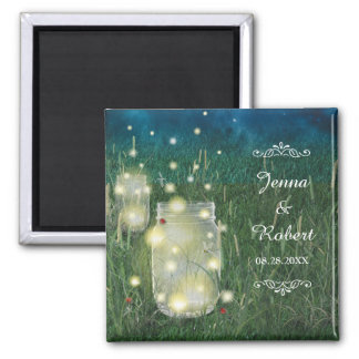 Rustic Meadow Summer Night Mason Jar and Fireflies Square Magnet