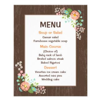 Rustic Menu Floral Brown Wood Wedding Party 11.5 Cm X 14 Cm Flyer