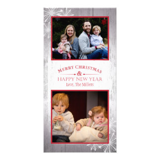 Rustic Merry Christmas and Happy New Year Photo Card