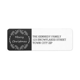 Rustic Merry Christmas Chalkboard Return Address Label