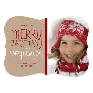 RUSTIC MERRY CHRISTMAS | HOLIDAY PHOTO CARD 13 CM X 18 CM INVITATION CARD