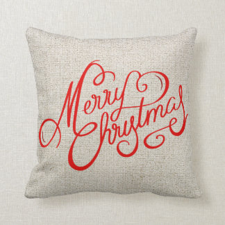 Rustic Merry Christmas Red vintage Typography Cushion